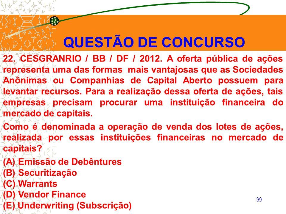 99 22. CESGRANRIO / BB / DF / 2012. A oferta pública de ações representa uma das formas mais vantajosas que as Sociedades Anônimas ou Companhias de Ca