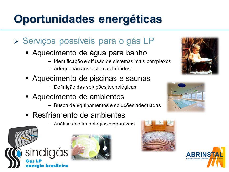 Oportunidades energéticas Serviços possíveis para o gás LP Aquecimento de água para banho –Identificação e difusão de sistemas mais complexos –Adequaç