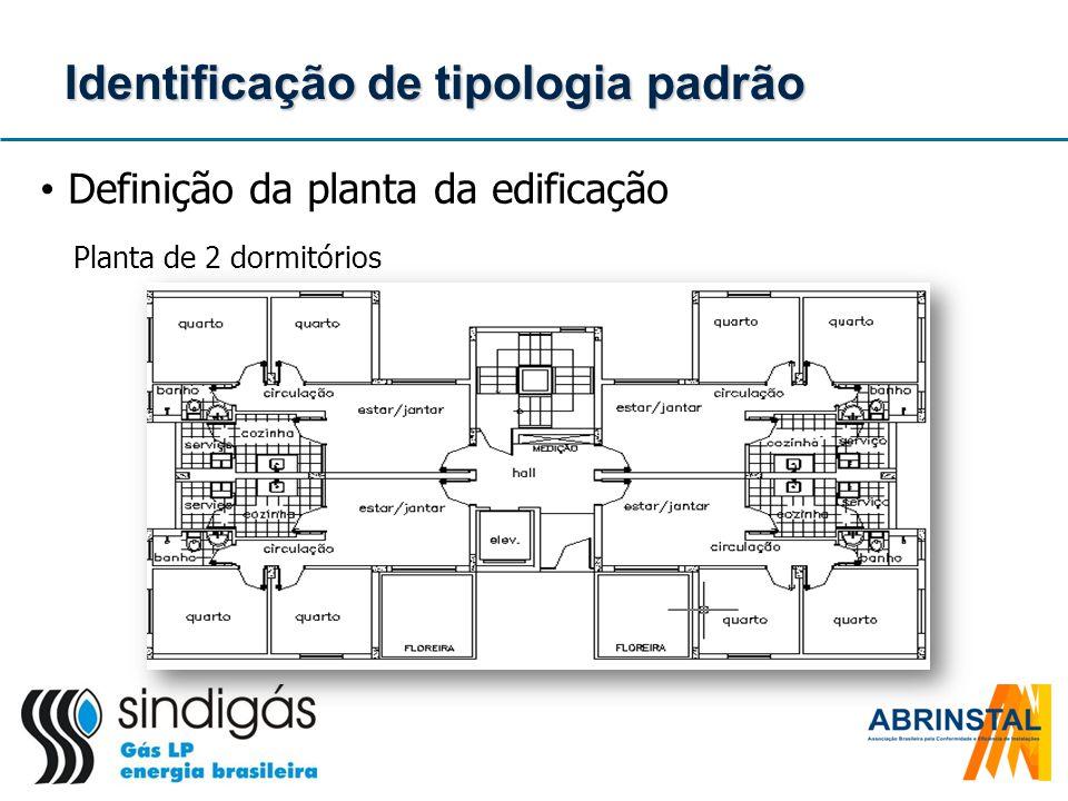 Identificação de tipologia padrão Definição da planta da edificação Planta de 2 dormitórios