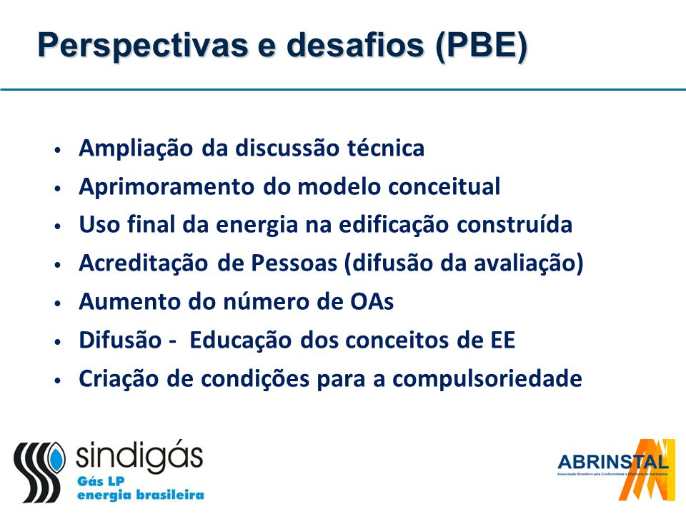 Perspectivas e desafios (PBE) Ampliação da discussão técnica Aprimoramento do modelo conceitual Uso final da energia na edificação construída Acredita