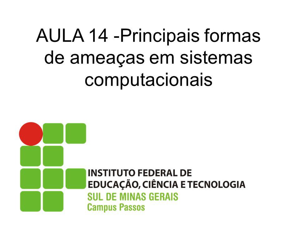 AULA 14 -Principais formas de ameaças em sistemas computacionais