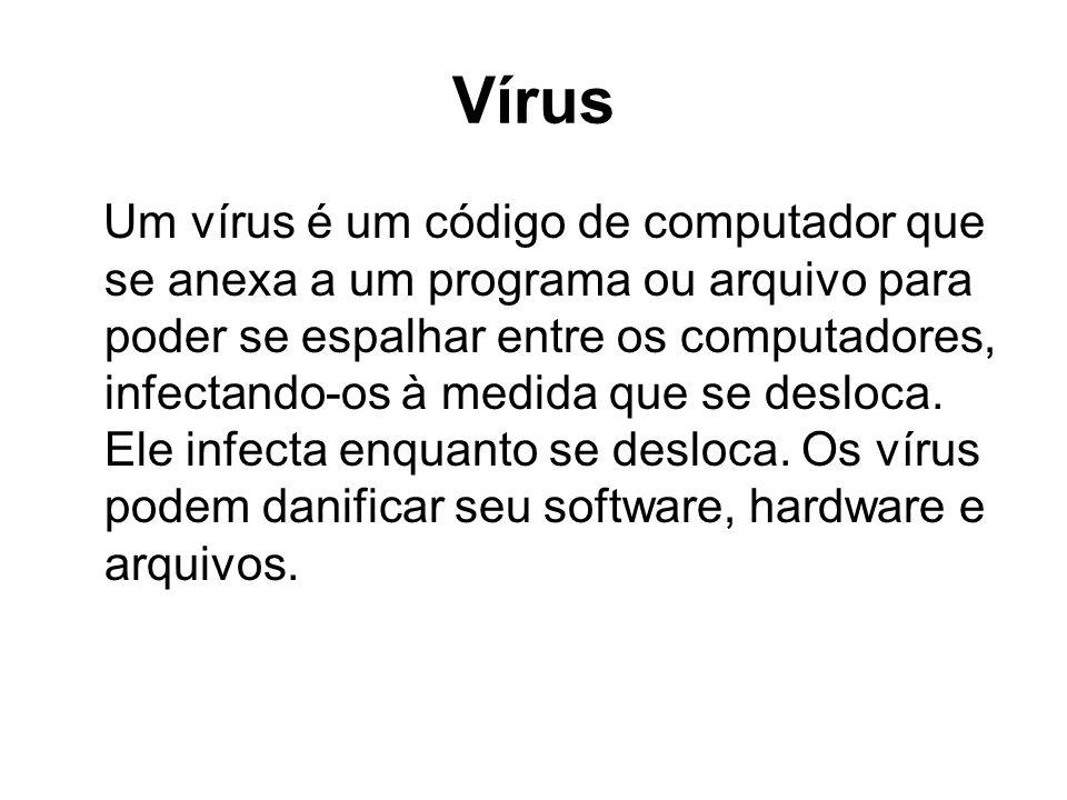 Vírus Um vírus é um código de computador que se anexa a um programa ou arquivo para poder se espalhar entre os computadores, infectando-os à medida qu