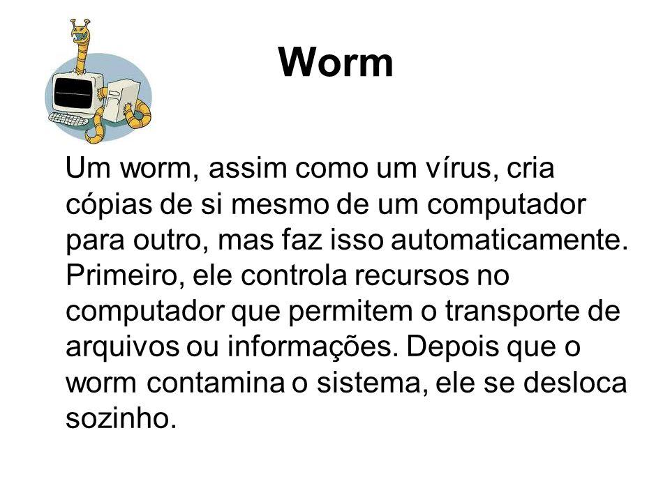 Worm Um worm, assim como um vírus, cria cópias de si mesmo de um computador para outro, mas faz isso automaticamente. Primeiro, ele controla recursos