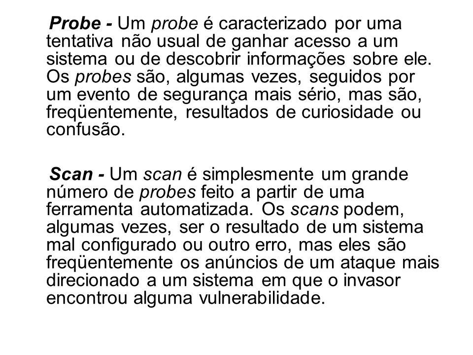 Probe - Um probe é caracterizado por uma tentativa não usual de ganhar acesso a um sistema ou de descobrir informações sobre ele. Os probes são, algum