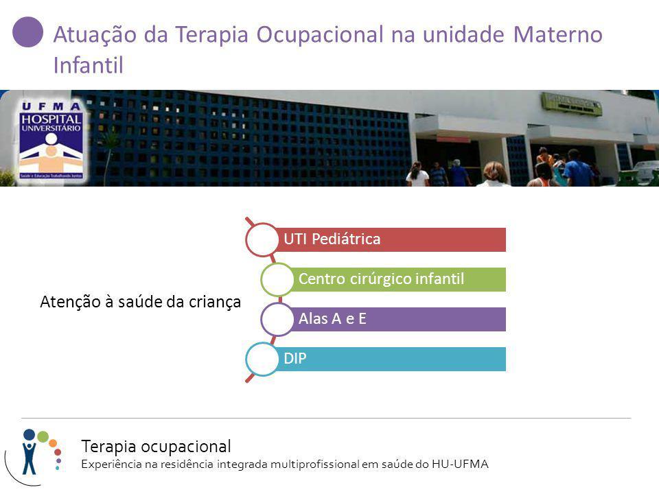 Atuação da Terapia Ocupacional na unidade Materno Infantil Atenção à saúde da criança UTI Pediátrica Centro cirúrgico infantil Alas A e E DIP Terapia