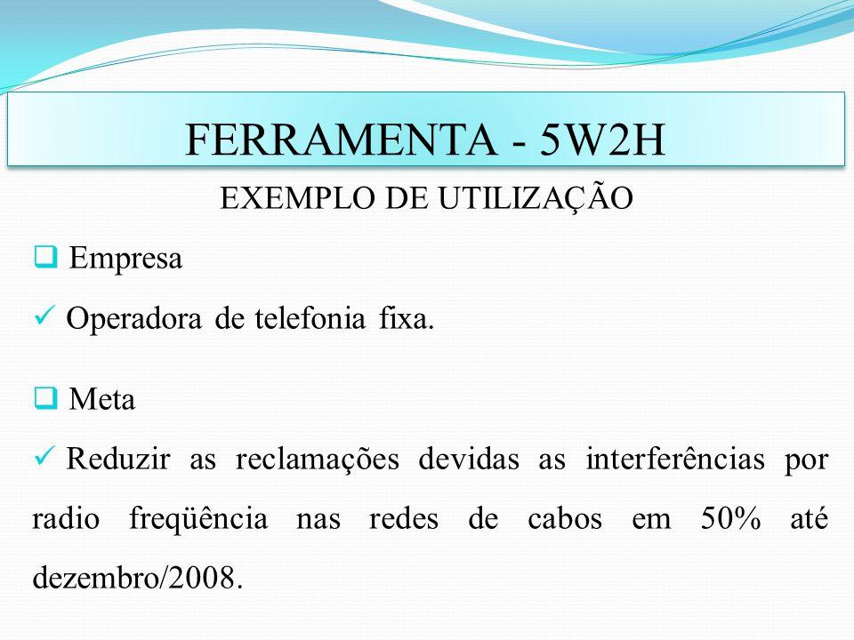 Empresa Operadora de telefonia fixa. Meta Reduzir as reclamações devidas as interferências por radio freqüência nas redes de cabos em 50% até dezembro