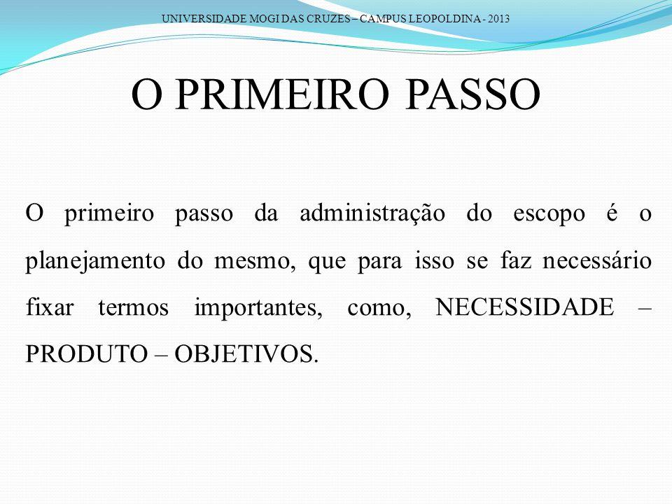 UNIVERSIDADE MOGI DAS CRUZES – CAMPUS LEOPOLDINA - 2013 O PRIMEIRO PASSO O primeiro passo da administração do escopo é o planejamento do mesmo, que pa