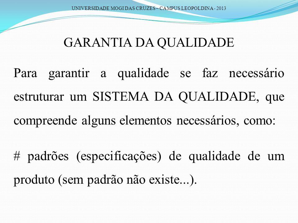 UNIVERSIDADE MOGI DAS CRUZES – CAMPUS LEOPOLDINA - 2013 GARANTIA DA QUALIDADE Para garantir a qualidade se faz necessário estruturar um SISTEMA DA QUA