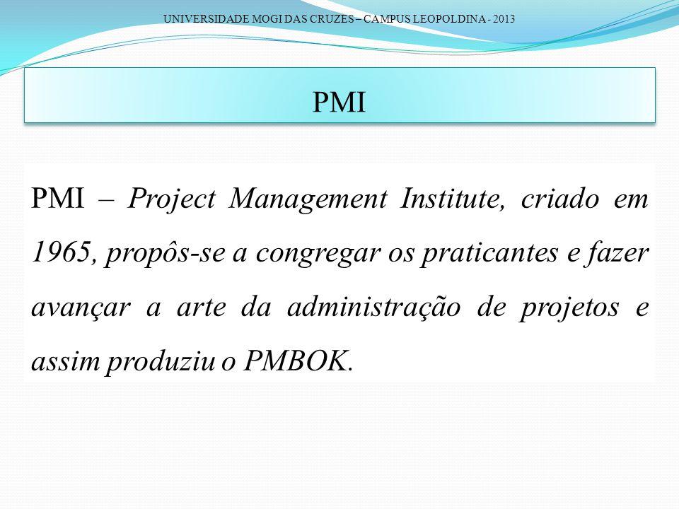 UNIVERSIDADE MOGI DAS CRUZES – CAMPUS LEOPOLDINA - 2013 PMI PMI – Project Management Institute, criado em 1965, propôs-se a congregar os praticantes e