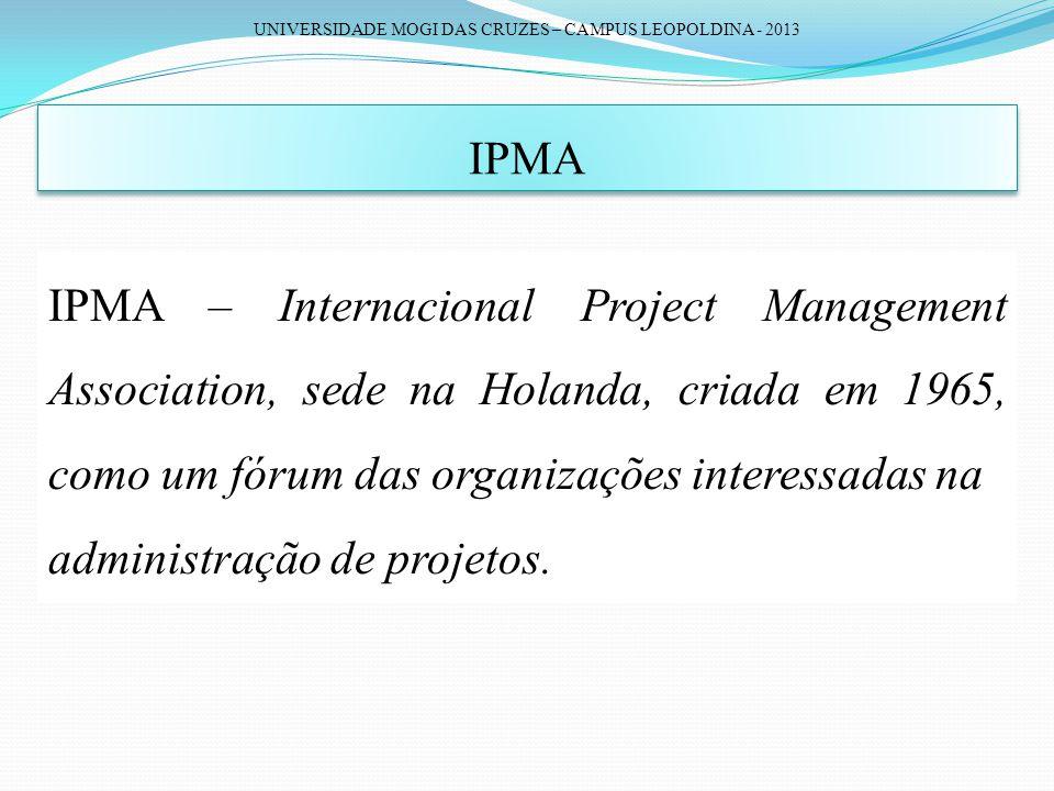 UNIVERSIDADE MOGI DAS CRUZES – CAMPUS LEOPOLDINA - 2013 IPMA IPMA – Internacional Project Management Association, sede na Holanda, criada em 1965, com