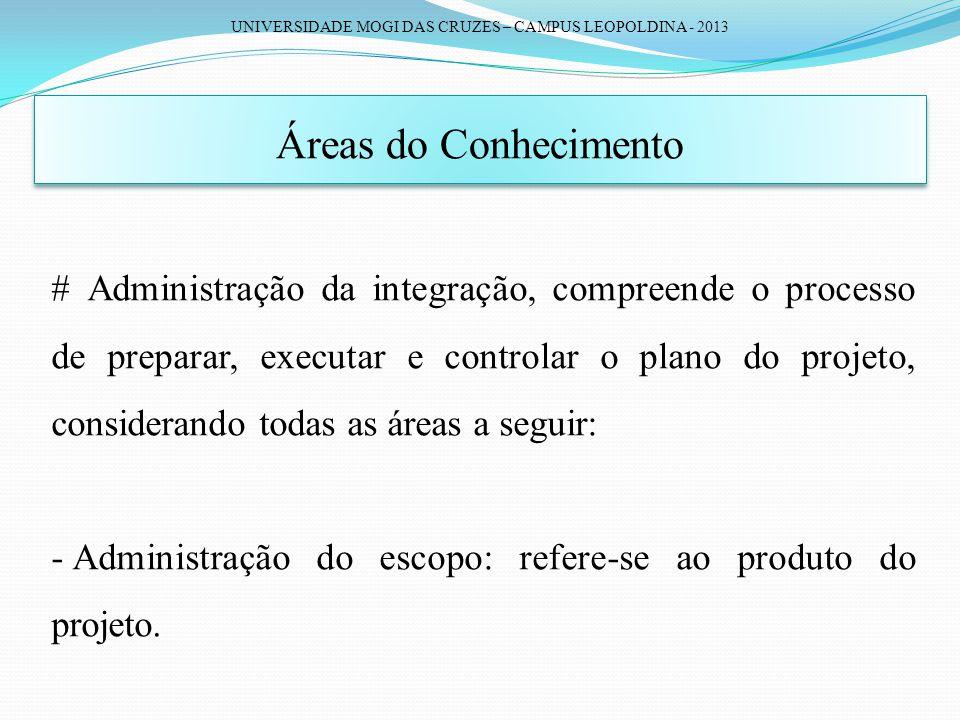 UNIVERSIDADE MOGI DAS CRUZES – CAMPUS LEOPOLDINA - 2013 Áreas do Conhecimento # Administração da integração, compreende o processo de preparar, execut