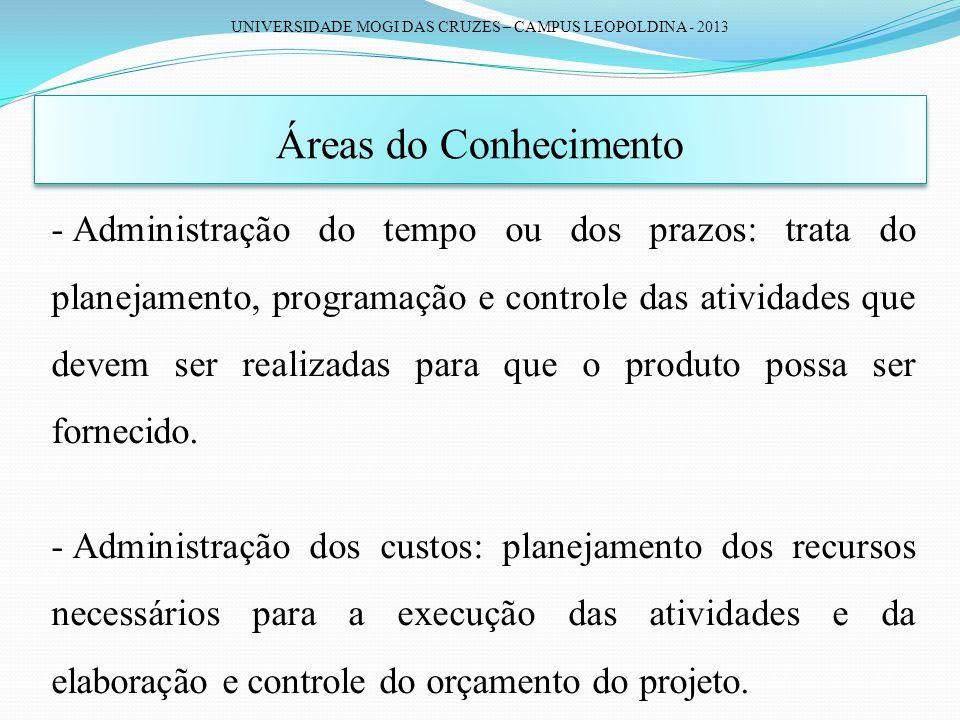 UNIVERSIDADE MOGI DAS CRUZES – CAMPUS LEOPOLDINA - 2013 Áreas do Conhecimento - Administração do tempo ou dos prazos: trata do planejamento, programaç
