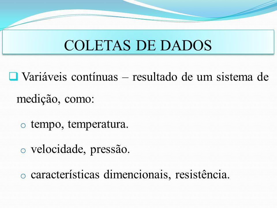 Variáveis contínuas – resultado de um sistema de medição, como: o tempo, temperatura. o velocidade, pressão. o características dimencionais, resistênc