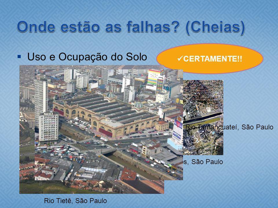 Uso e Ocupação do Solo CERTAMENTE!! Rio Tietê, São Paulo Rio Pinheiros, São Paulo Rio Tamanduateí, São Paulo