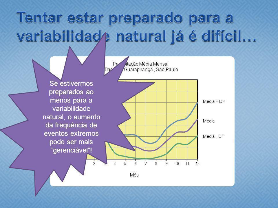 Se estivermos preparados ao menos para a variabilidade natural, o aumento da frequência de eventos extremos pode ser mais gerenciável!