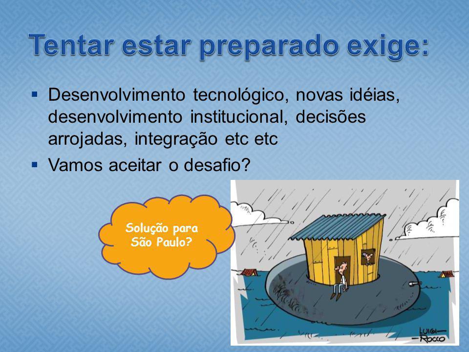 Desenvolvimento tecnológico, novas idéias, desenvolvimento institucional, decisões arrojadas, integração etc etc Vamos aceitar o desafio? Solução para