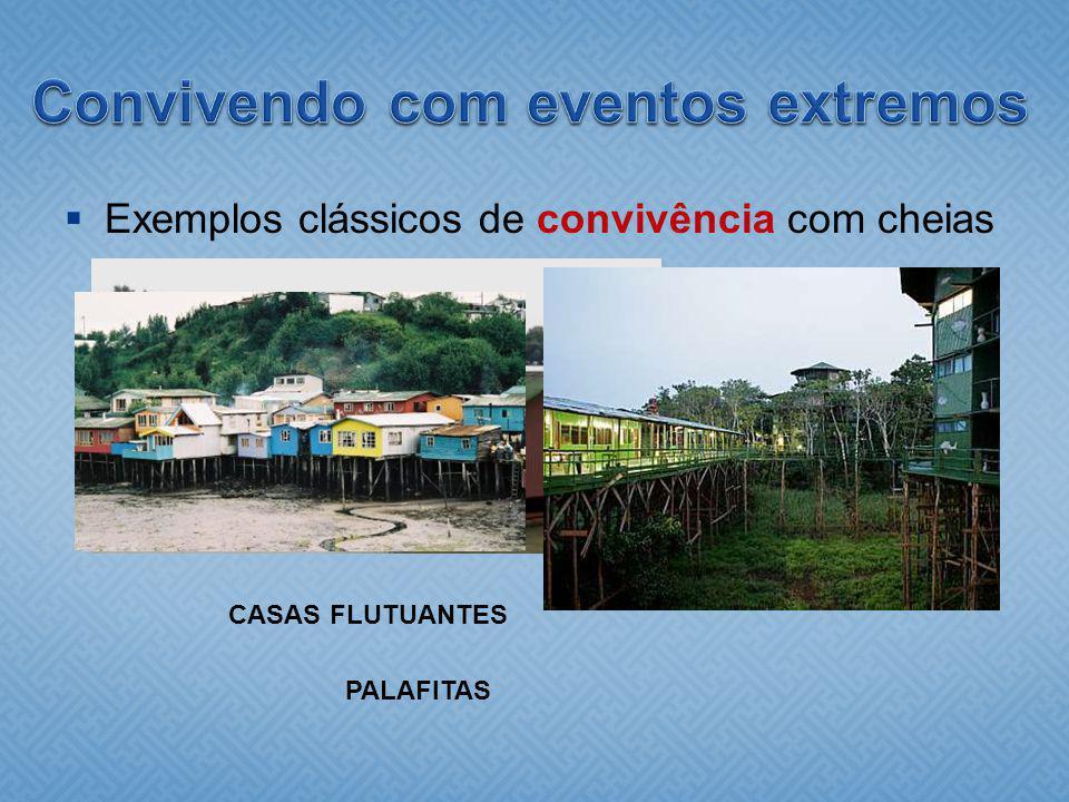 Exemplos clássicos de convivência com cheias CASAS FLUTUANTES PALAFITAS