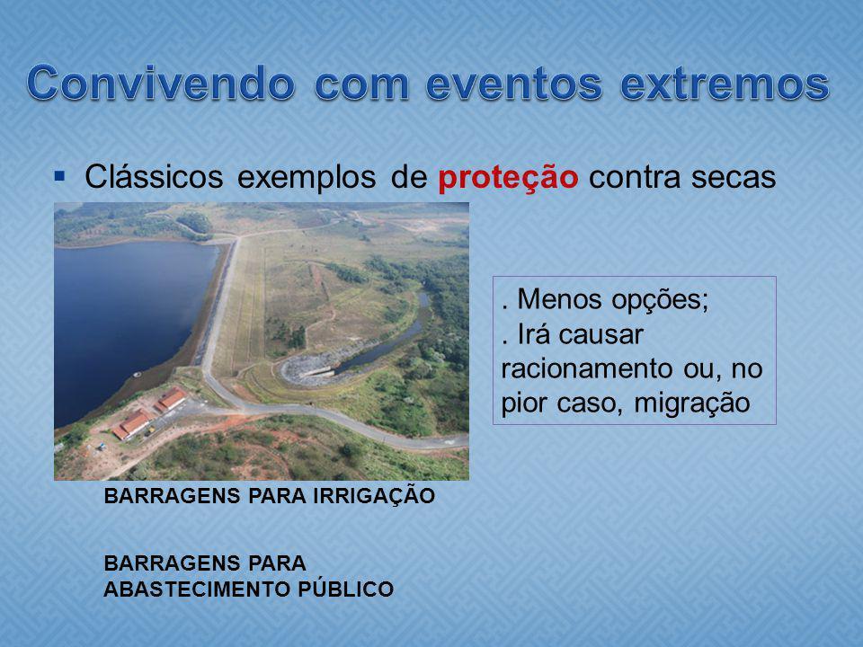 Clássicos exemplos de proteção contra secas BARRAGENS PARA IRRIGAÇÃO. Menos opções;. Irá causar racionamento ou, no pior caso, migração BARRAGENS PARA