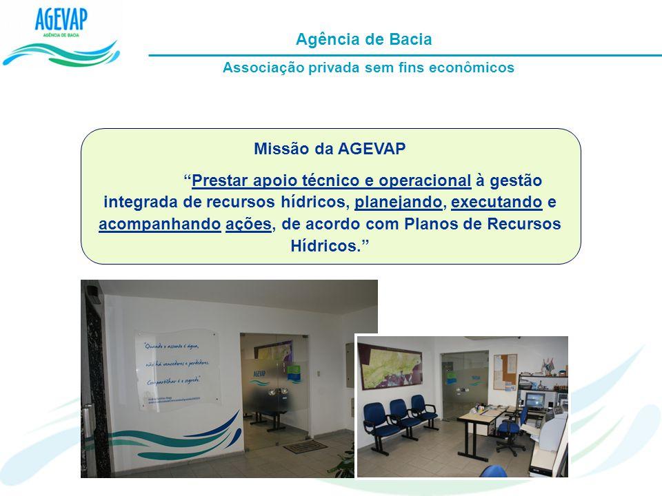 Missão da AGEVAP Prestar apoio técnico e operacional à gestão integrada de recursos hídricos, planejando, executando e acompanhando ações, de acordo c