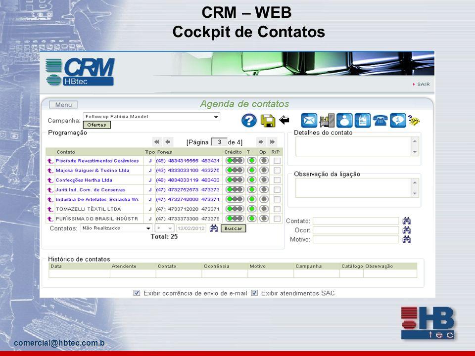 comercial@hbtec.com.b CRM – WEB Cockpit de Contatos
