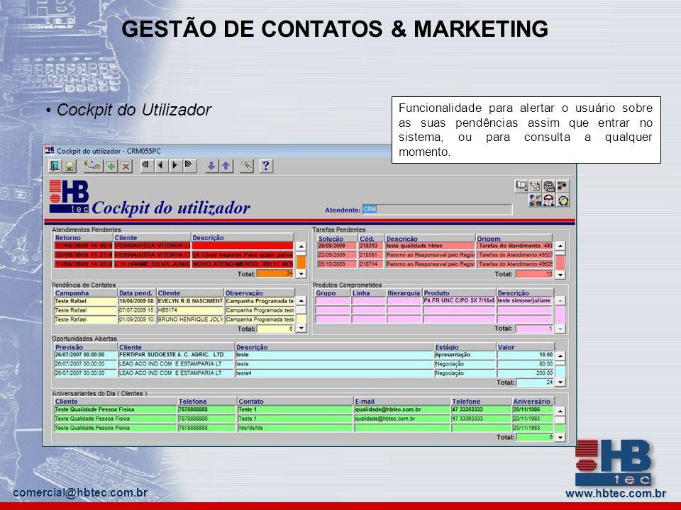 GESTÃO DE CONTATOS & MARKETING www.hbtec.com.br comercial@hbtec.com.br