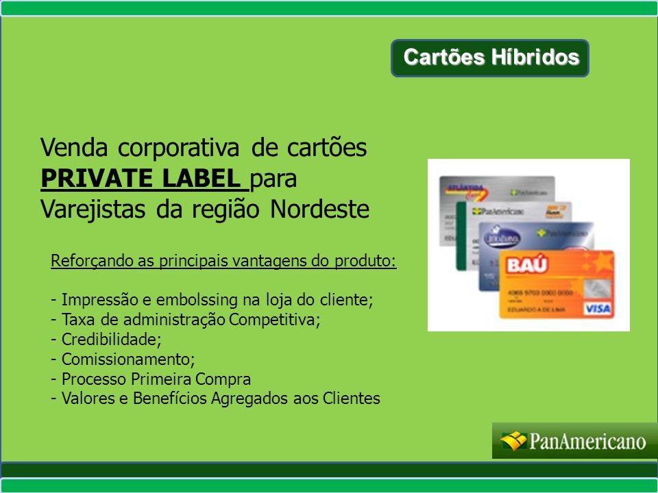 Cartões Híbridos Venda corporativa de cartões PRIVATE LABEL para Varejistas da região Nordeste Reforçando as principais vantagens do produto: - Impres