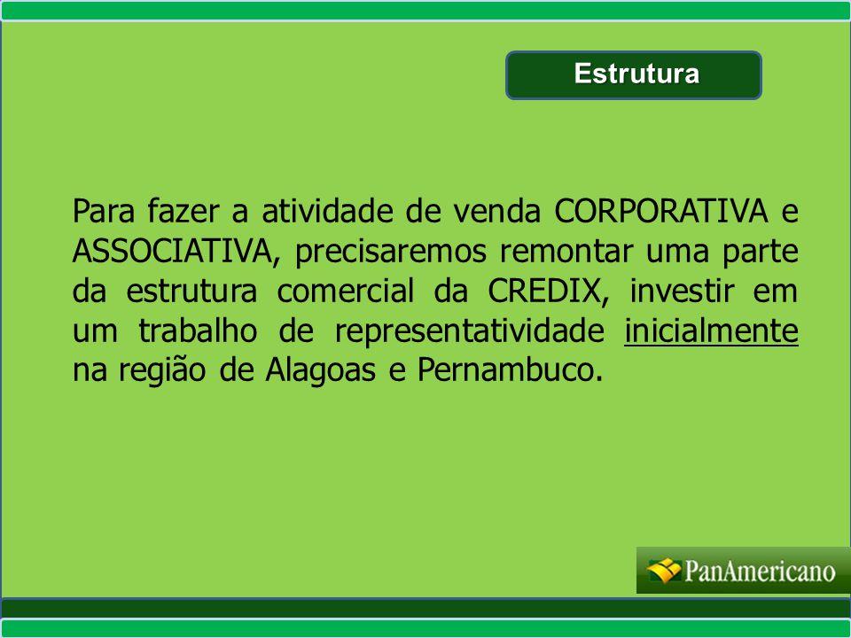 Para fazer a atividade de venda CORPORATIVA e ASSOCIATIVA, precisaremos remontar uma parte da estrutura comercial da CREDIX, investir em um trabalho d