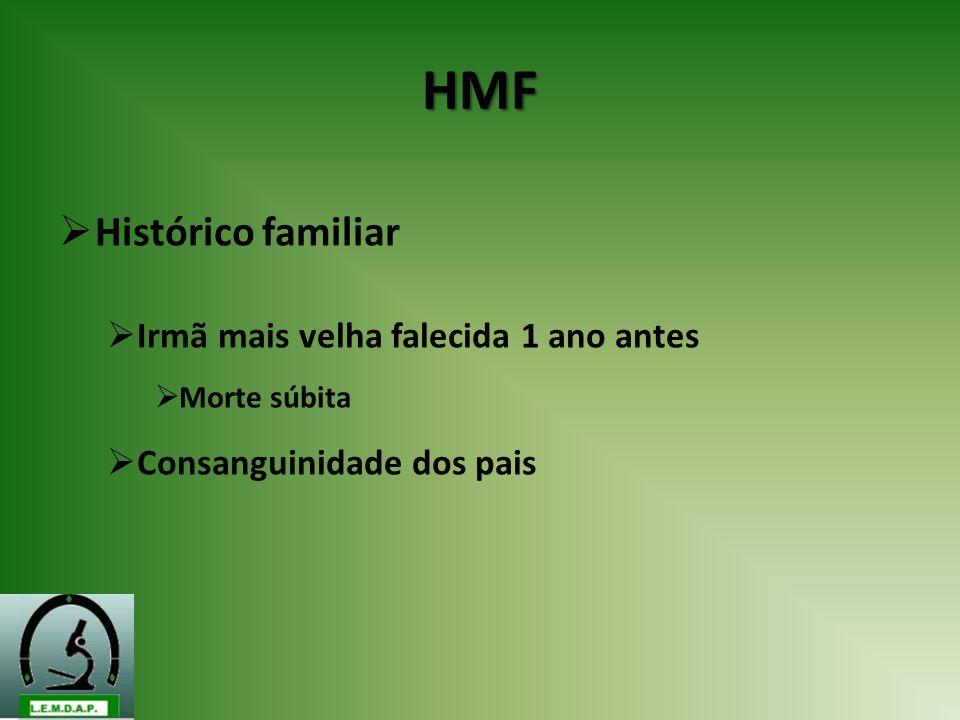 HMF Histórico familiar Irmã mais velha falecida 1 ano antes Morte súbita Consanguinidade dos pais