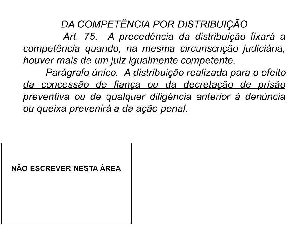 DA COMPETÊNCIA POR DISTRIBUIÇÃO Art. 75. A precedência da distribuição fixará a competência quando, na mesma circunscrição judiciária, houver mais de