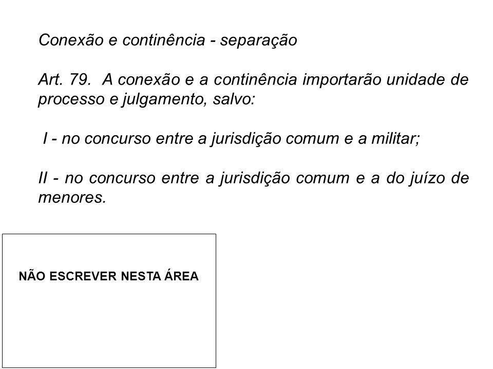 Conexão e continência - separação Art. 79. A conexão e a continência importarão unidade de processo e julgamento, salvo: I - no concurso entre a juris