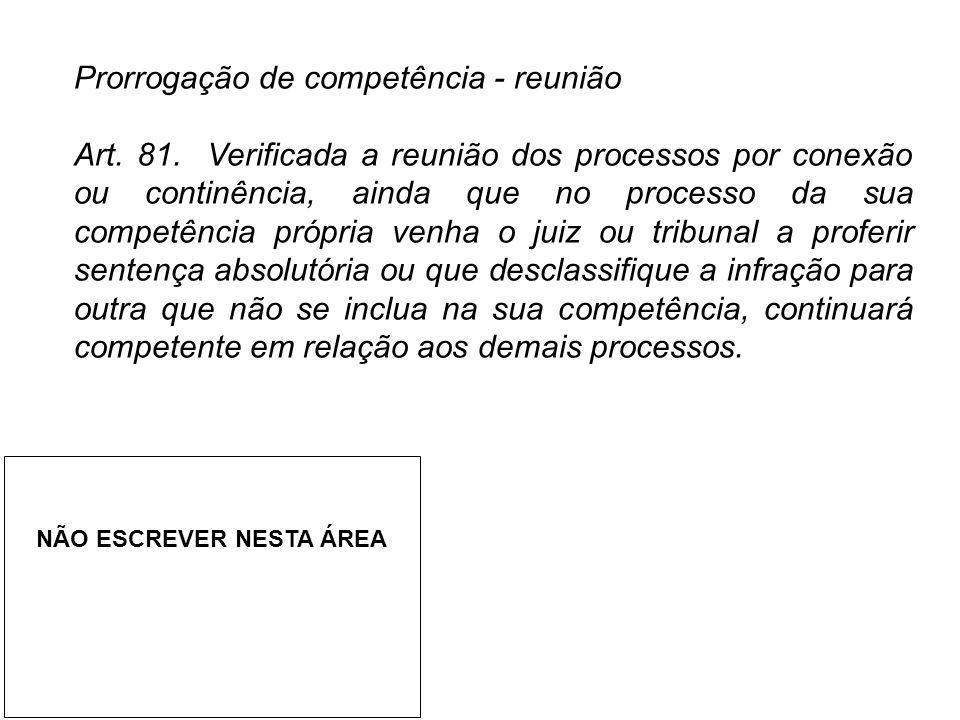 Prorrogação de competência - reunião Art. 81. Verificada a reunião dos processos por conexão ou continência, ainda que no processo da sua competência