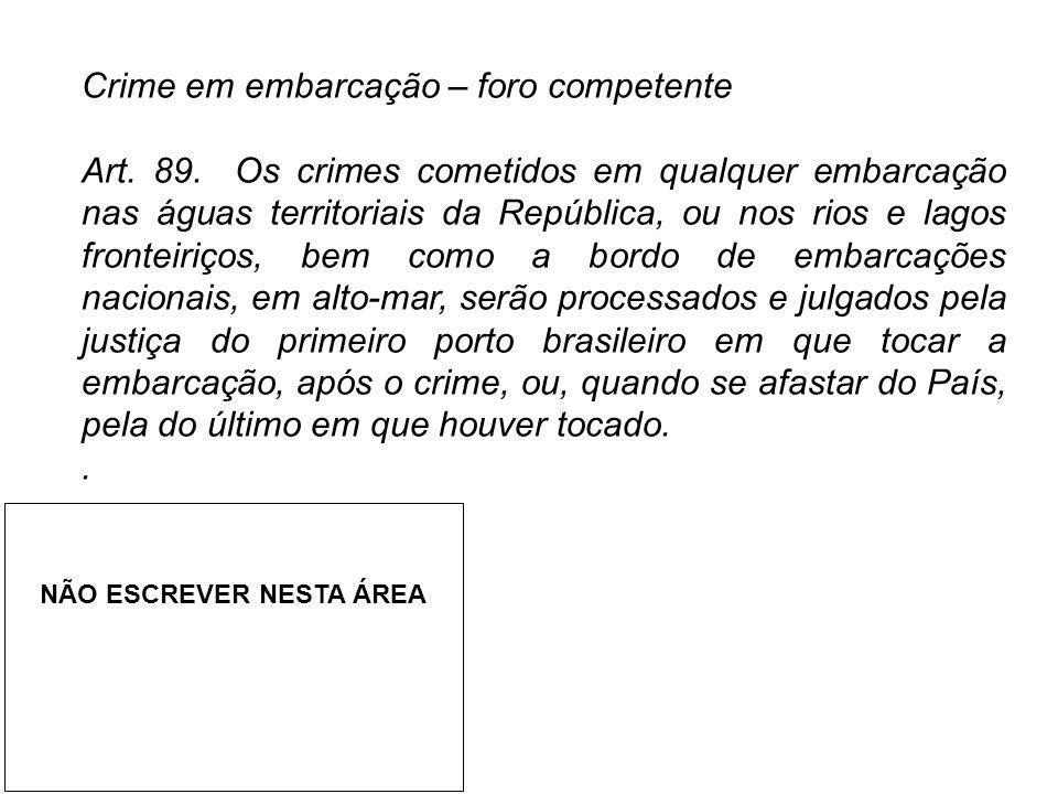 Crime em embarcação – foro competente Art. 89. Os crimes cometidos em qualquer embarcação nas águas territoriais da República, ou nos rios e lagos fro
