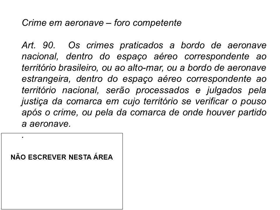 Crime em aeronave – foro competente Art. 90. Os crimes praticados a bordo de aeronave nacional, dentro do espaço aéreo correspondente ao território br