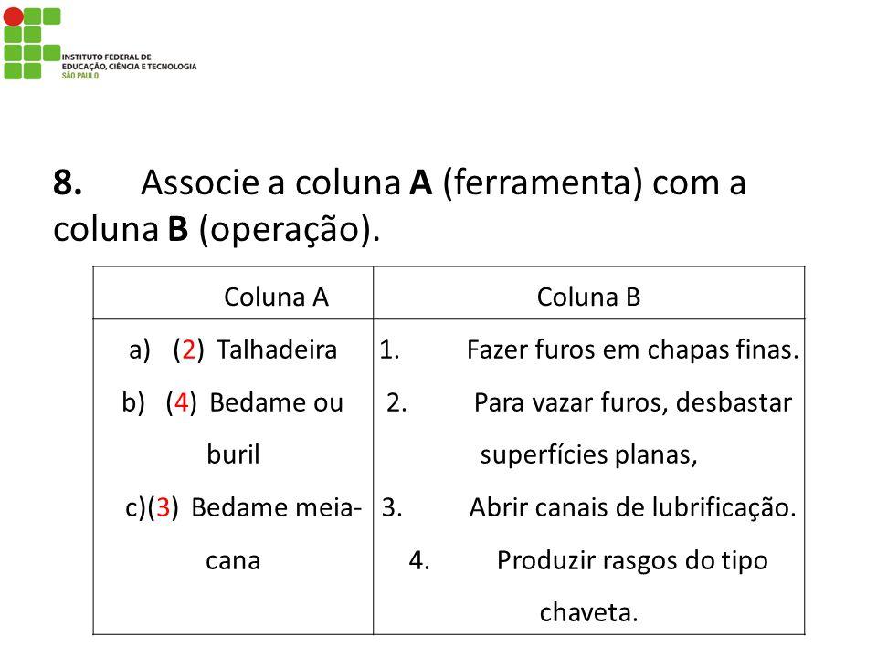 8.Associe a coluna A (ferramenta) com a coluna B (operação). Coluna AColuna B a)(2)Talhadeira b)(4)Bedame ou buril c)(3)Bedame meia- cana 1.Fazer furo