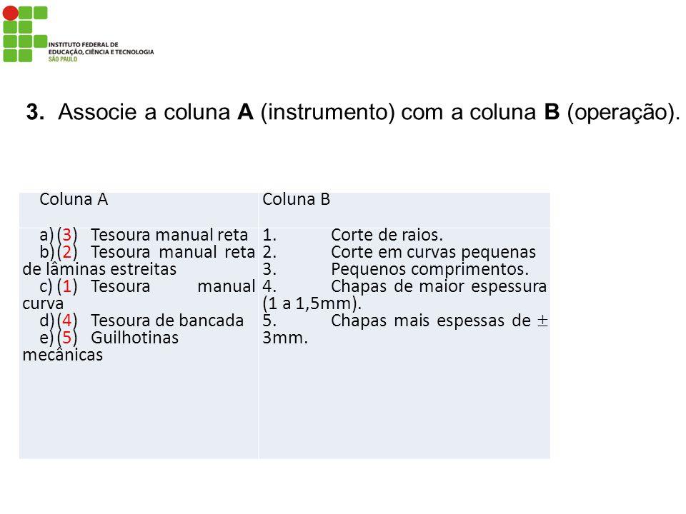 Coluna AColuna B a)(3)Tesoura manual reta b)(2)Tesoura manual reta de lâminas estreitas c)(1)Tesoura manual curva d)(4)Tesoura de bancada e)(5)Guilhot