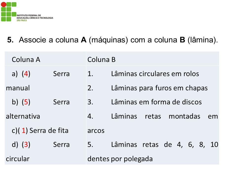 Coluna AColuna B a)(4)Serra manual b)(5)Serra alternativa c)(1)Serra de fita d)(3)Serra circular 1.Lâminas circulares em rolos 2.Lâminas para furos em