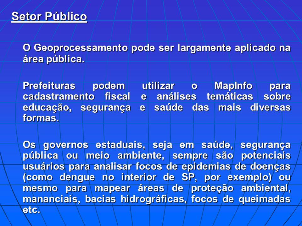 Setor Público O Geoprocessamento pode ser largamente aplicado na área pública. Prefeituras podem utilizar o MapInfo para cadastramento fiscal e anális