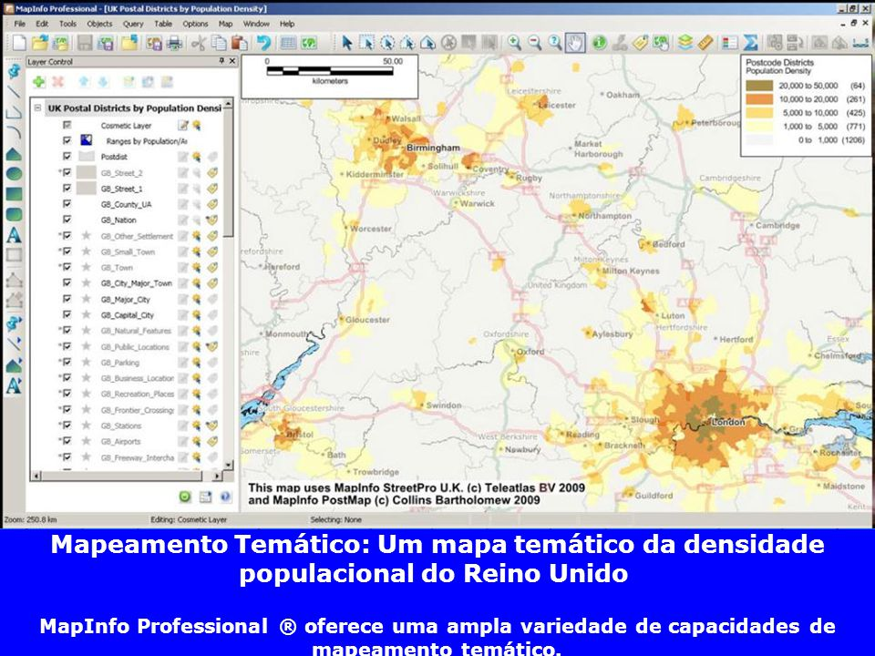Mapeamento Temático: Um mapa temático da densidade populacional do Reino Unido MapInfo Professional ® oferece uma ampla variedade de capacidades de ma