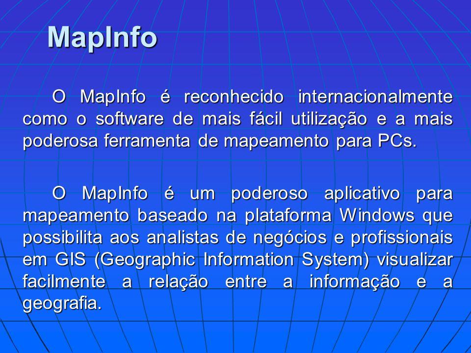 MapInfo O MapInfo é reconhecido internacionalmente como o software de mais fácil utilização e a mais poderosa ferramenta de mapeamento para PCs. O Map