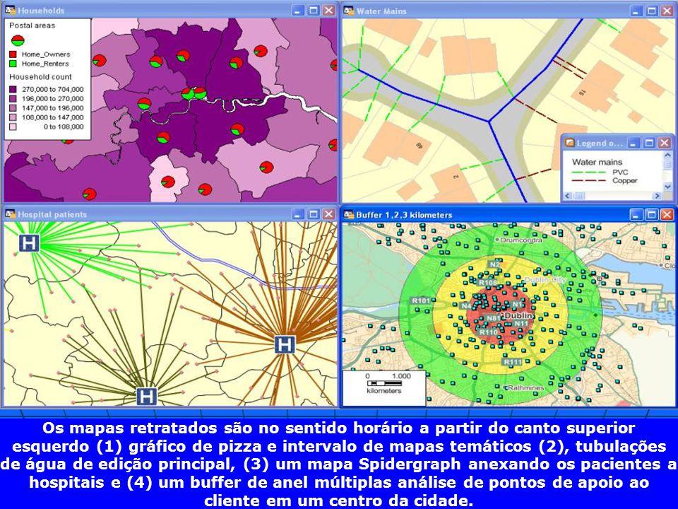 Os mapas retratados são no sentido horário a partir do canto superior esquerdo (1) gráfico de pizza e intervalo de mapas temáticos (2), tubulações de