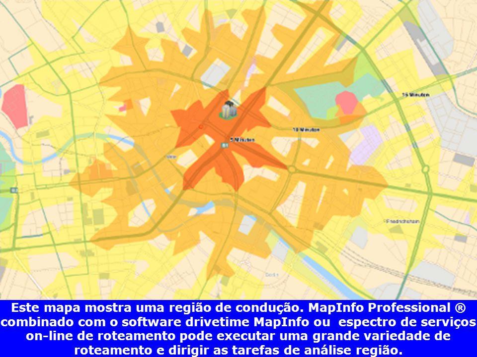 Este mapa mostra uma região de condução. MapInfo Professional ® combinado com o software drivetime MapInfo ou espectro de serviços on-line de roteamen