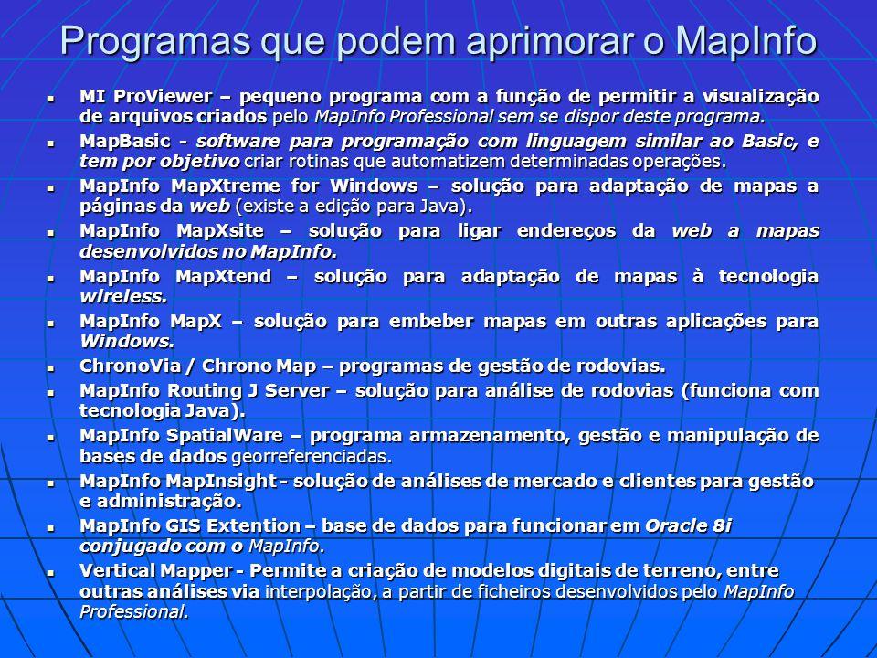 Programas que podem aprimorar o MapInfo MI ProViewer – pequeno programa com a função de permitir a visualização de arquivos criados pelo MapInfo Profe