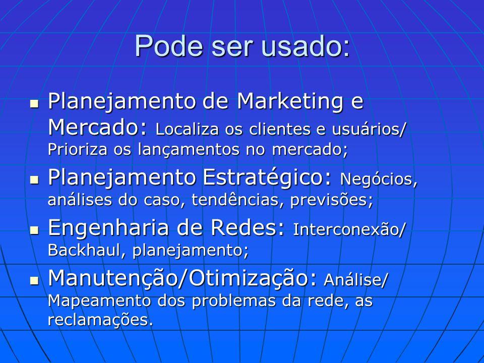 Pode ser usado: Planejamento de Marketing e Mercado: Localiza os clientes e usuários/ Prioriza os lançamentos no mercado; Planejamento de Marketing e