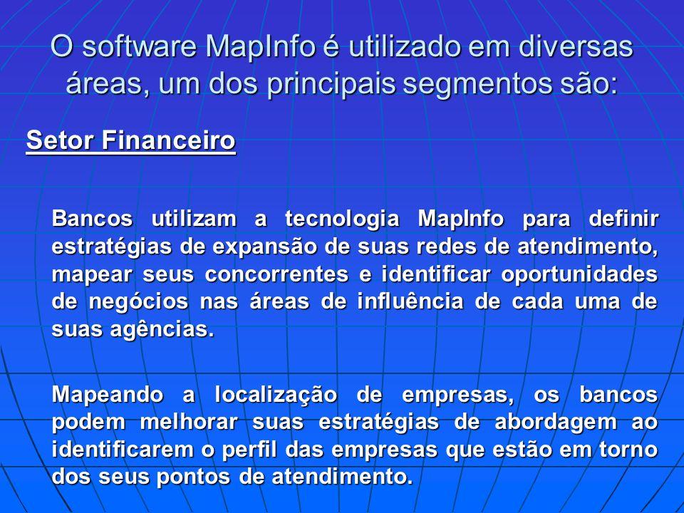 O software MapInfo é utilizado em diversas áreas, um dos principais segmentos são: Setor Financeiro Bancos utilizam a tecnologia MapInfo para definir