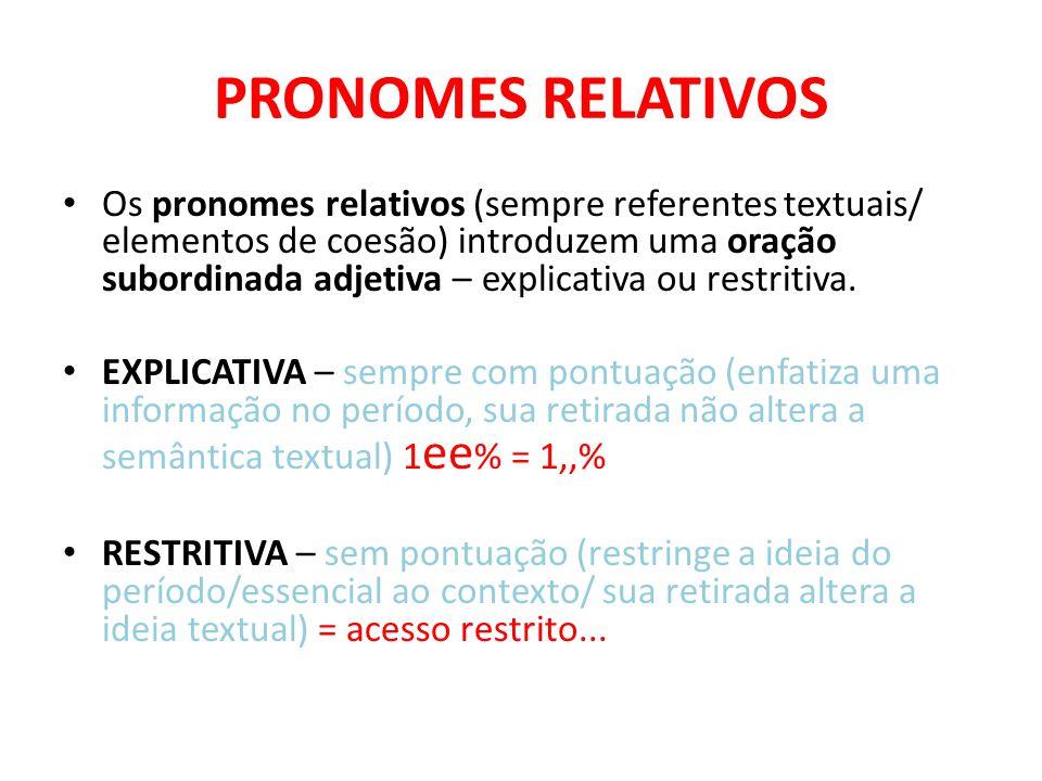 PRONOMES RELATIVOS Os pronomes relativos (sempre referentes textuais/ elementos de coesão) introduzem uma oração subordinada adjetiva – explicativa ou