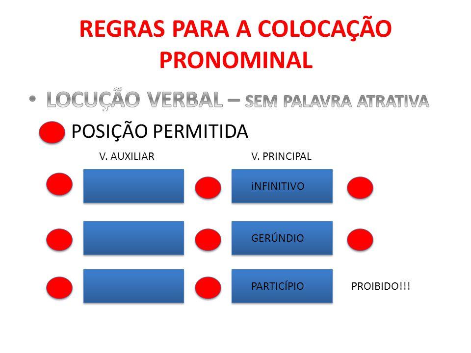 REGRAS PARA A COLOCAÇÃO PRONOMINAL iNFINITIVO GERÚNDIO PARTICÍPIO V. AUXILIARV. PRINCIPAL PROIBIDO!!!