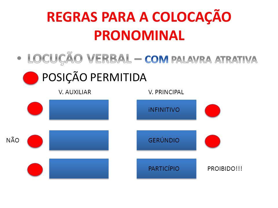 REGRAS PARA A COLOCAÇÃO PRONOMINAL iNFINITIVO GERÚNDIO PARTICÍPIO V. AUXILIARV. PRINCIPAL PROIBIDO!!! NÃO