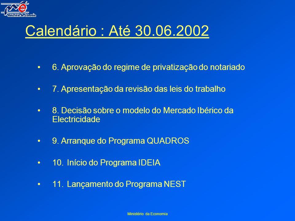 Ministério da Economia Calendário : Até 30.06.2002 6.