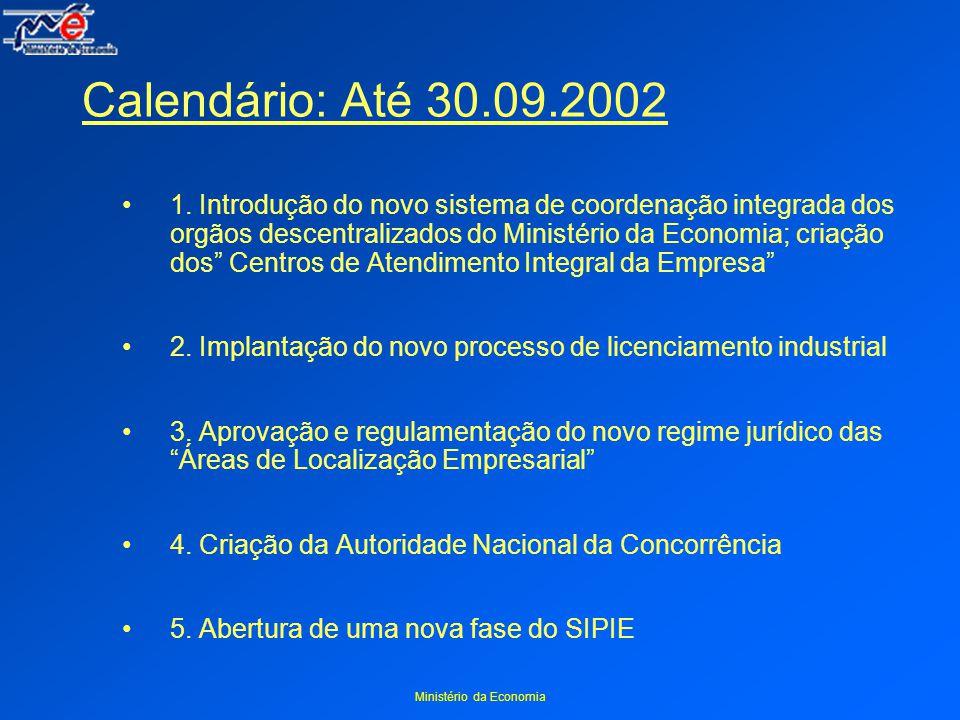 Ministério da Economia Calendário: Até 30.09.2002 1.