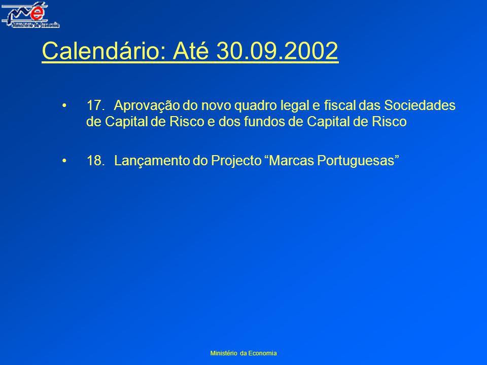 Ministério da Economia Calendário: Até 30.09.2002 17.